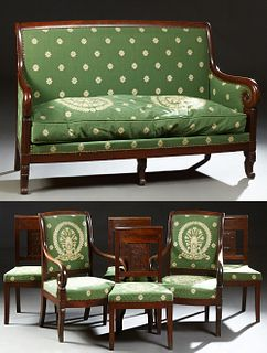 French Empire Style Carved Mahogany Seven Piece Parlor Suite, c. 1840, consisting of a settee, a pair of fauteuils and four side cha...