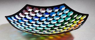 "Catherine Coffman (Texas), ""Hexagonal Rainbow Blocks Platter,"" 20th c., glass, H.- 3 in., Dia.- 8 7/8 in."