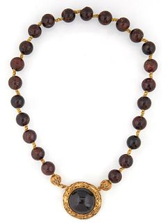 Chinese 14K Yellow Gold Amethyst Bead Necklace, early 20th c., the 11 mm circular amethyst beads separated by small gold beads, lead...