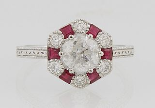 Lady's Platinum Dinner Ring, with a center
