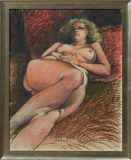 """Don Wright (1931-2007, Louisiana), """"Reclining Nude on Her Back,"""" 1981, pastel, signed and dated lower right, presented in a silvered..."""