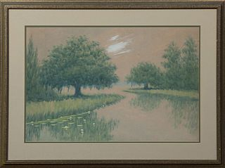 """Alexander J. Drysdale (1870-1934, New Orleans), """"Moss Draped Oak Trees,"""" early 20th c., oil wash, pencil signed lower left, presente..."""