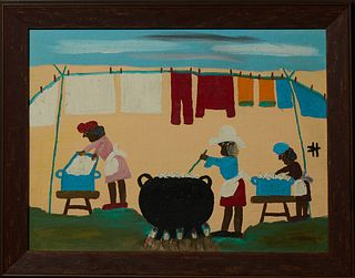 """Clementine Hunter (1886-1988, Louisiana), """"Wash Day,"""" c. 1966, oil on board, signed right center, presented in a distressed wood fra..."""