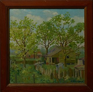 """J. Sully Smyth, """"Louisiana Cabins,"""" 20th c., oil on board, signed lower right, presnted in a pine frame, H.- 17 1/4 in., W.- 17 1/4 in."""