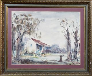 """Nestor Hippoyle Fruge (1916-2012, New Orleans), """"Cabin on the Bayou,"""" 1952, watercolor, signed and dated lower right, presented in a..."""