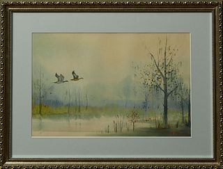 """Nestor Hippolyte Fruge (1916-2012, New Orleans), """"Mallards Flying in the Swamp,"""" 20th c., watercolor, signed lower right, presented ..."""