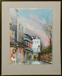 """Nestor Hippolyte Fruge (1916-2012, New Orleans), """"Pirate's Alley,"""" 20th c., watercolor, signed lower left, presented in a gold metal..."""
