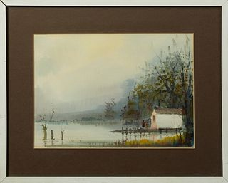 """Nestor Hippolyte Fruge (1916-2012, New Orleans), """"Swamp Scene with Cabin,"""" 20th c., watercolor, signed lower right, presented in a s..."""