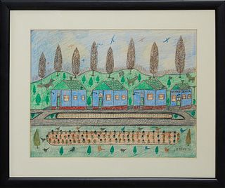 """Chief Willey, Philip LeRoy Willey, (1887-1980, New Orleans), """"Roadside Motel,"""" 1970, colored pencil, signed and dated lower right, p..."""
