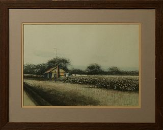 """Kenneth Crawford Hodges (1897-1978, California), """"Cotton Fields,"""" 20th c., watercolor, signed lower right, presented in a reclaimed..."""