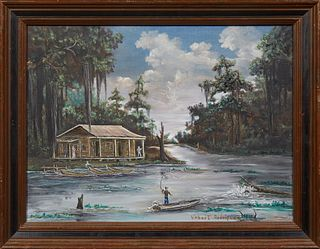 """Virbert Rodriguez, """"Louisiana Bayou Scene,"""" 20th c., oil on canvas, signed lower right, framed, H.- 18 in., W.- 24 in."""