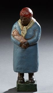 """Ephraim, """"Mammy and Baby,"""" 1986, polychromed clay figure, signed and dated on rear of integral base, H.- 10 1/2 in., W.- 4 in., D.-..."""