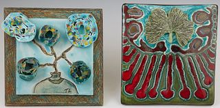 """Tom Ladousa (Lafayette, Louisiana), """"Fall #4,"""" and """"Celebration,"""" 20th c., two pottery tiles, one signed lower right, both titled an..."""