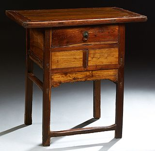 """Chinese Carved Altar Table, 20th c., Qing dynasty, the rectangular top over a center drawer over """"secret"""" storage, on square legs jo..."""