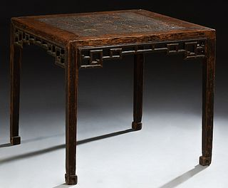 Chinese Carved Elm Side Table, late Ming Dynasty, the square top over a pierced carved skirt, on square tapered legs, H.- 27 3/4 in....