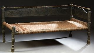 Antique Pakistan Provincial Carved Ebonized Day Bed, 19th