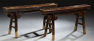 Pair of Chinese Provincial Polychromed Carved Elm Gate Benches, 19th c