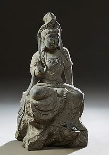 Chinese Carved Black Marble Goddess of Mercy Figure, 20th c