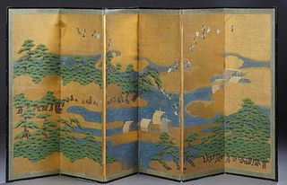 Chinese Six Panel Dressing Screen, late 19th c., decorated with birds, trees and ships on the water, H.- 54 in., Each panel- W.- 20...
