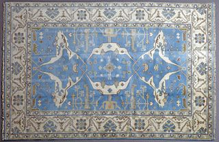 Turkish Angora Oushak Carpet, 6' 2 x 8' 10