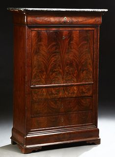 French Louis Philippe Carved Mahogany Marble Top Secretary Abattant, 19th c., the highly figured grey rounded edge and corner marble...