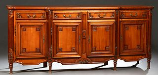 Louis XVI Style Carved Cherry Sideboard, 20th c., the stepped bowed cookie corner parquetry inlaid top over two central frieze drawe...