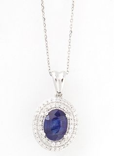 14K White Gold Pendant, with a central approximately