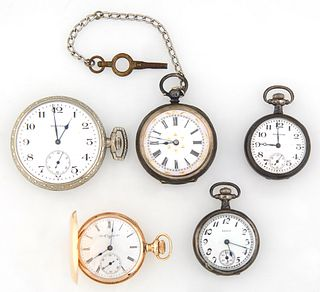 Group of Five Pocket Watches, consisting of a 14K yellow gold Elgin Lady's hunting case example, Ser. # 10058374, the reverse with a...