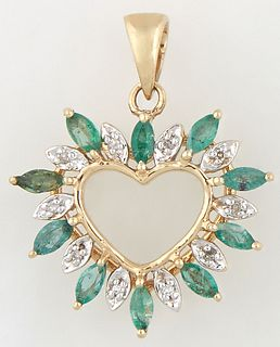 14K Yellow Gold Heart Pendant, mounted with oval marquise emeralds separated by small round diamonds, with a gold bail, H