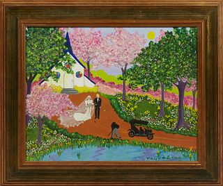 """Mary G. de la Barre, """"The Newlyweds,"""" 1987, oil on canvas, signed and dated lower right, presented in a gilt frame, H.- 13 1/2 in.,..."""