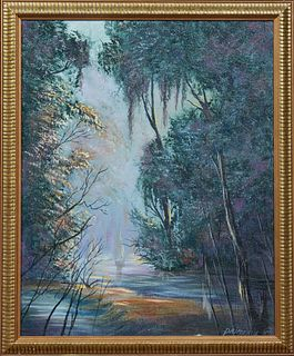 """Primeaux (Louisiana), """"Cabin on the Louisiana Bayou,"""" and """"Bayou Interior,"""" 20th c., pair of oils on board, signed and dated lower r..."""