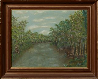 """Louisiana School, """"Moss Draped Swamp Scene,"""" 20th c., presented in a mahogany frame with gilt highlights, H.- 19 1/2 in., W.- 25 1/2..."""