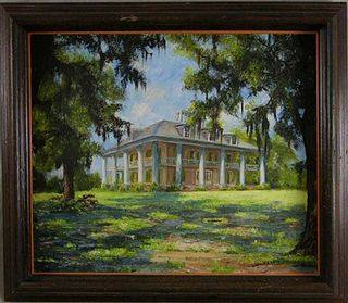 """Lydia Diemont, """"Houmas House Plantation,"""" 20th c., oil on canvas, signed l.r., framed, H.- 21 in., W.- 25 in."""
