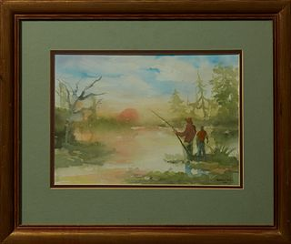 """Harold """"Napoleon"""" King (1940-2005, New Orleans), """"Sunrise Swamp Scene with Fisherman,"""" 1975, watercolor, signed and dated lower righ..."""