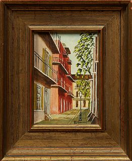 """Paul Samson (New Orleans), """"Pirates Alley,"""" 20th c., watercolor on board, signed lower left, presented in a gilt frame, H.- 6 1/2 in..."""