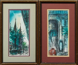"""Tom Lane (New Orleans), """"St. Louis Cathedral"""" and """"French Quarter Patio,"""" 20th c., pair of watercolors, signed lower right, presente..."""