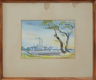 """Charles Henry Reinike (1906-1983, Louisiana), """"Paddlewheeler on the River,"""" 20th c., watecolor, presented in a mahogany frame, H.- 6..."""