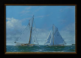 """James Miller (b. 1962, British), """"Mariquita and Tuiga on the Solent,"""" 20th c., sailing scene, oil on canvas, signed lower left, sign..."""