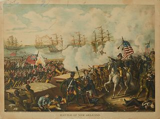 """Kurz & Allison, """"Battle of New Orleans,"""" 20th c., after the 1890 original, print on cardboard, shrink wrapped, H.- 20 in., W.- 26 7/..."""