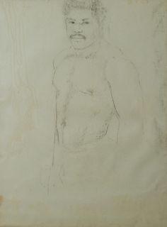 """George Valentine Dureau (1930-2014, New Orleans), """"Portrait of a Standing Afro-American Nude Male,"""" 20th c., charcoal on paper, shri..."""