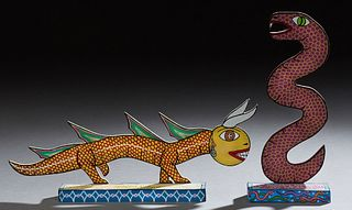 """Michael Finster (1969-), """"Zoobareiia Beast,"""" and """"Demaray Serpent,"""" 1989, two painted wood sculptures, signed dated, and titled on t..."""