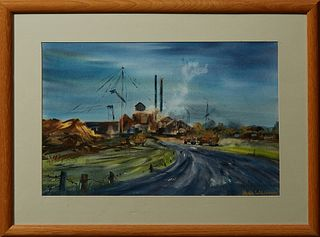 """Jean Williams, """"Sugar Mill,"""" 20th c., watercolor, signed lower right, titled verso, presented in a natural oak frame, H.- 14 in., W...."""