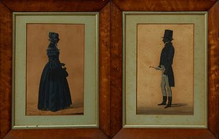 """New Orleans School, """"Gentleman in a Tophat,"""" and """"Lady in a Bonnet,"""" 19th c., pair of watercolor silhouettes, presented in period ma..."""