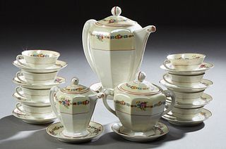 """Twenty-Six Piece French Limoges Porcelain Coffee Service, 20th c., by """"S.A.,"""" consisting of 12 cups, 11 saucers, a coffee pot, cream..."""