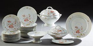 Twenty-Nine Piece Floral Decorated Limoges Porcelain Dinner Service, late 19th c., consisting of 12 dinner plates, 11 salad plates,...