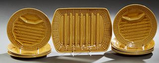 Ten Piece French Ceramic Asparagus Set, 20th c., by Sarraguemines, consisting of a serving platter and nine circular plates, Platter...