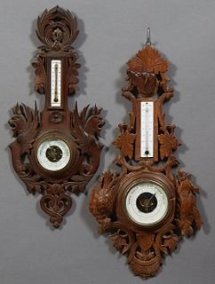 Two French Provincial Carved Beech Barometers, 19th c, one with a hunting motif of a dog and fowl, with a metal thermometer over the...