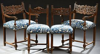 Set of Four French Henri II Style Carved Beech Dining Chairs, 19th c