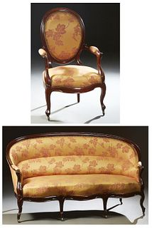 French Louis XV Style Two Piece Parlor Suite, c. 1870, consisting of a fauteuil and a settee, the fauteuil with an oval curved medal...