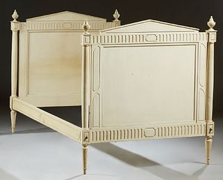 French Provincial Louis XV Style Polychromed Beech Day Bed, c. 1870, the pointed finger carved sleigh ends, with columnar supports,...